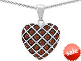 Original Star K™ Round Simulated Garnet Puffed Heart Pendant style: 309722