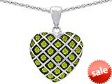 Original Star K™ Round Simulated Peridot Puffed Heart Pendant style: 309723