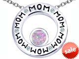 Original Star K™ MOM Circle Mothers Pendant with Round 7mm Created Pink Opal style: 309724