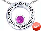 Original Star K™ MOM Circle Mothers Pendant with Round 7mm Created Pink Sapphire style: 309725