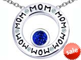 Original Star K™ MOM Circle Mothers Pendant with Round 7mm Created Sapphire style: 309727