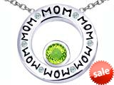 Original Star K™ MOM Circle Mothers Pendant with Round 7mm Simulated Apple Green Amethyst style: 309729