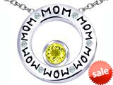 Original Star K™ MOM Circle Mothers Pendant with Round 7mm Simulated Citrine style: 309732