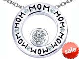 Original Star K™ MOM Circle Mothers Pendant with Round 7mm Simulated Diamond style: 309733