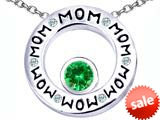 Original Star K™ MOM Circle Mothers Pendant with Round 7mm Simulated Emerald style: 309734