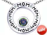 Original Star K™ MOM Circle Mothers Pendant with Round 7mm Rainbow Mystic Topaz style: 309737