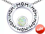 Original Star K™ MOM Circle Mothers Pendant with Round 7mm Created Opal style: 309738