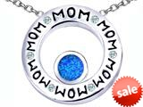 Original Star K™ MOM Circle Mothers Pendant with Round 7mm Created Blue Opal style: 309741