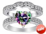 Original Star K™ 8mm Heart Shape Rainbow Mystic Topaz Wedding Set style: 309744