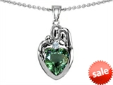 Original Star K™ Loving Mother And Father With Child Family Pendant With Heart Shape 8mm Simulated Green Tourmaline style: 309749