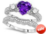 Original Star K™ Heart Shape 7mm Genuine Amethyst Engagement Wedding Set style: 309751