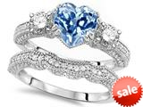 Original Star K™ Heart Shape 7mm Simulated Aquamarine Engagement Wedding Set style: 309754