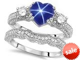 Original Star K™ Heart Shape 7mm Created Star Sapphire Engagement Wedding Set style: 309755