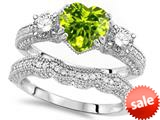 Original Star K™ Heart Shape 7mm Genuine Peridot Engagement Wedding Set style: 309756