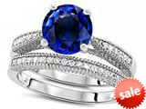 Original Star K™ Round 7mm Created Sapphire Engagement Wedding Set style: 309759