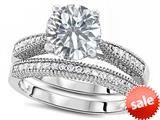 Original Star K™ Round 7mm Genuine White Topaz Engagement Wedding Set style: 309761