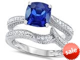 Original Star K™ 7mm Cushion Cut Created Sapphire Engagement Wedding Set style: 309762