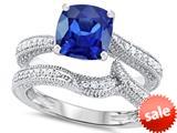 Original Star K™ 7mm Cushion Cut Created Sapphire Engagement Wedding Set style: 309762