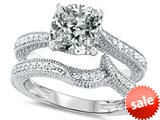 Original Star K™ 7mm Cushion Cut Genuine White Topaz Engagement Wedding Set style: 309763