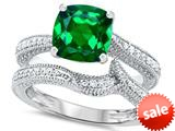 Original Star K™ 7mm Cushion Cut Simulated Emerald Engagement Wedding Set style: 309764