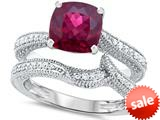 Original Star K™ 7mm Cushion Cut Created Ruby Engagement Wedding Set style: 309765
