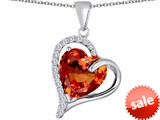 Original Star K™ Heart Shape 12mm Simulated Orange Mexican Fire Opal Double Heart Love Pendant style: 309771