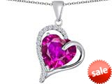Original Star K™ Heart Shape 12mm Created Pink Sapphire Double Heart Love Pendant style: 309772