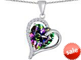 Original Star K™ Heart Shape 12mm Rainbow Mystic Topaz Double Heart Love Pendant style: 309774