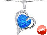 Original Star K™ Heart Shape 12mm Simulated Blue Opal Double Heart Love Pendant style: 309775