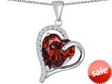 Original Star K™ Heart Shape 12mm Simulated Garnet Double Heart Love Pendant style: 309779