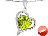 Original Star K™ Heart Shape 12mm Simulated Apple Green Amethyst Double Heart Love Pendant style: 309780