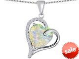 Original Star K™ Heart Shape 12mm Simulated Opal Double Heart Love Pendant style: 309783