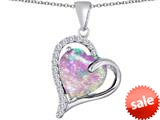 Original Star K™ Heart Shape 12mm Simulated Pink Opal Double Heart Love Pendant style: 309785