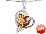 Original Star K™ Heart Shape 12mm Simulated Imperial Yellow Topaz Double Heart Love Pendant style: 309786