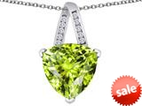 Original Star K™ Large 15mm Trillion Pendant with Simulated Apple Green Amethyst style: 309809