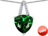 Original Star K™ Large 15mm Trillion Pendant with Simulated Emerald style: 309814