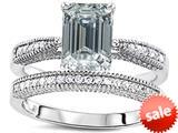 Original Star K™ Emerald Cut 8x6mm Simulated Diamond Engagement Wedding Set style: 309825