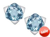 Original Star K™ 7mm Trillion Star Earrings with Simulated Aquamarine style: 309848