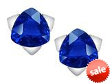 Original Star K™ 7mm Trillion Star Earrings with Simulated Sapphire style: 309852