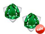 Original Star K™ 7mm Trillion Star Earrings with Simulated Emerald style: 309854