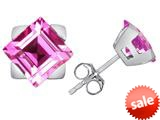 Original Star K™ 7mm Square Star Earrings with Created Pink Sapphire style: 309862
