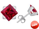Original Star K™ 7mm Square Star Earrings with Created Ruby style: 309863