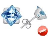 Original Star K™ 7mm Square Star Earrings with Simulated Aquamarine style: 309865