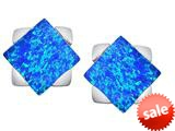 Original Star K™ 7mm Square Star Earrings with Created Blue Opal style: 309866
