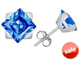 Original Star K™ 7mm Square Star Earrings with Simulated Blue Topaz style: 309867