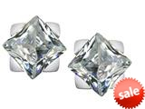 Original Star K™ 7mm Square Star Earrings with Simulated White Topaz style: 309869
