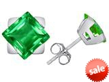 Original Star K™ 7mm Square Star Earrings with Simulated Emerald style: 309870