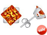 Original Star K™ 7mm Square Star Earrings with Simulated Orange Mexican Fire Opal style: 309871