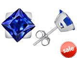 Original Star K™ 7mm Square Star Earrings with Simulated Sapphire style: 309874