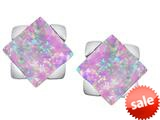 Original Star K™ 7mm Square Star Earrings with Created Pink Opal style: 309877